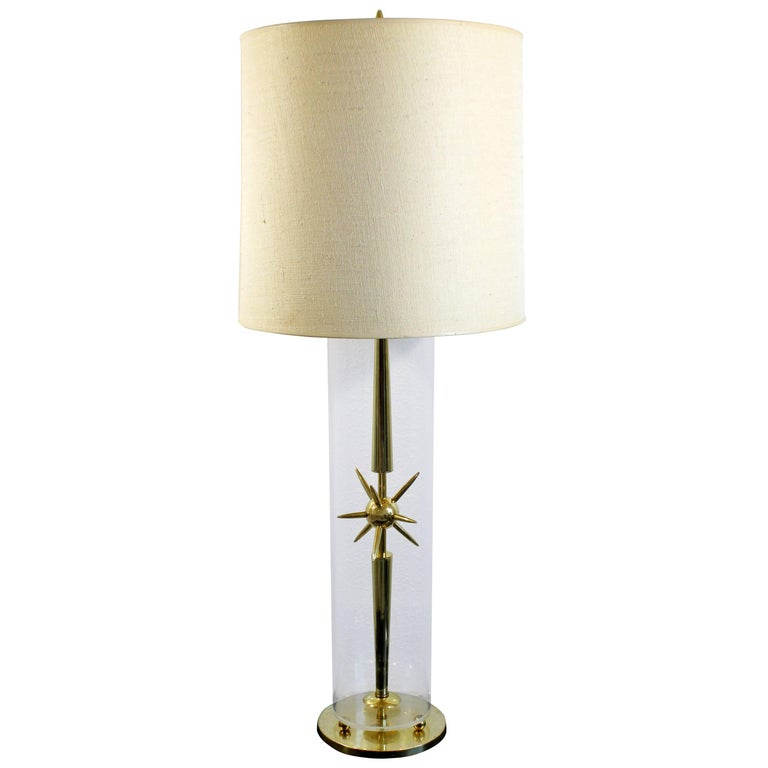 Mid-Century Modern Sputnik Atomic Glass & Brass Table Lamp by Mutual Sunset Co.