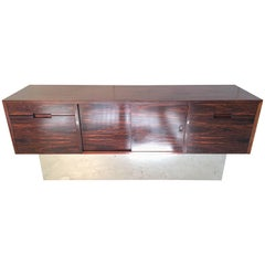 Rosewood Chrome Plinth Base Credenza