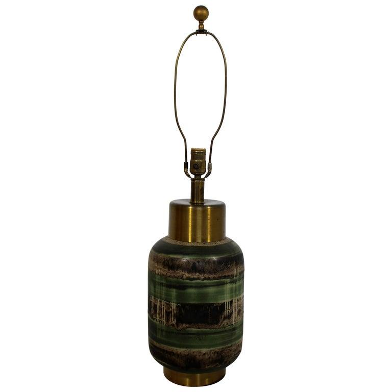 Art Deco Marianna Von Allesch Glazed Green Ceramic and Brass Table Lamp, 1940s