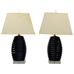 Mid-Century Modern Pair of Bauer Black & Clear Lucite Table Lamps Beehive Style