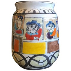 Large Mid-Century Modern Hand-Painted Vase by Giovanni Desimone