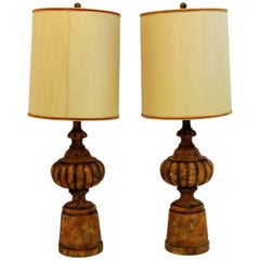 Mid-Century Modern Pair of Michael Taylor for Chapman Gesso Stone Table Lamps