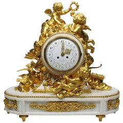 Palatial 19th Century Louis XV Style Ormolu Mantel Clock, Beurdeley Attributed
