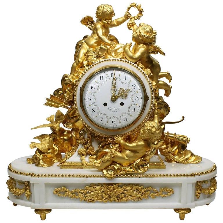 Palatial 19th Century Louis XV Style Ormolu Mantel Clock, Beurdeley Attributed