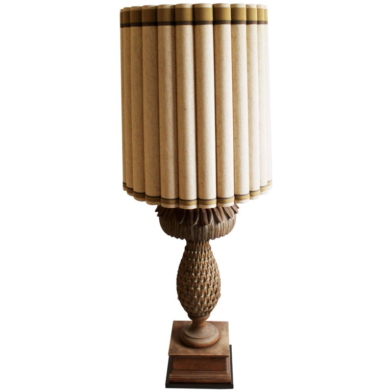 Mid-Century Modern Marbro Pineapple Carved Wood Table Floor Lamp Original Shade