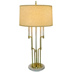 Mid-Century Modern Tommi Parzinger Style Candelbra Brass and Marble Table Lamp