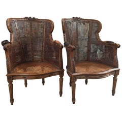 Louis XVI Pair of Double Caned Bergère