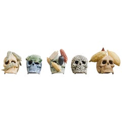 Mexican Handmade Ceramic Skull Sculpture Collection Made in Limited Editions
