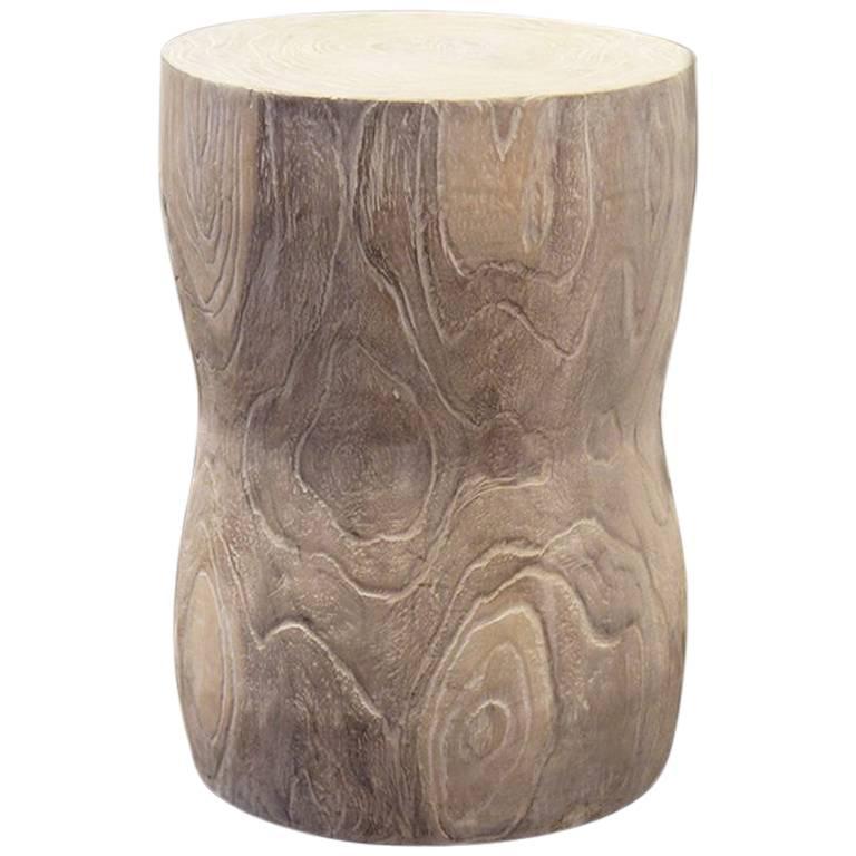 Andrianna Shamaris Hand-Carved Solid Teak Wood Stool