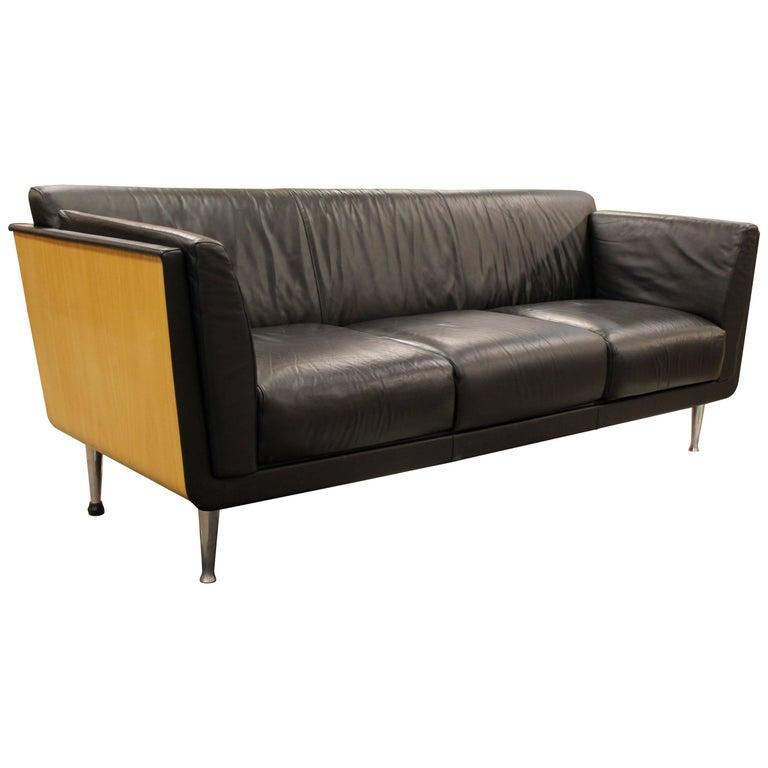 Contemporary Modern Goetz Sofa Herman Miller Wood Wred Frame Leather Chrome For
