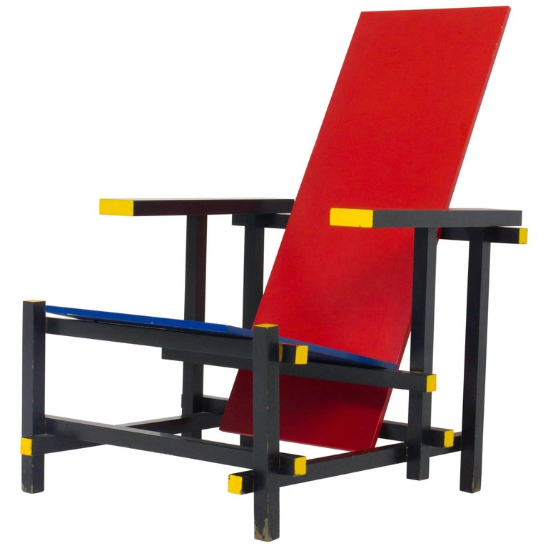 Gerrit Rietveld Red and Blue Chair for Cassina