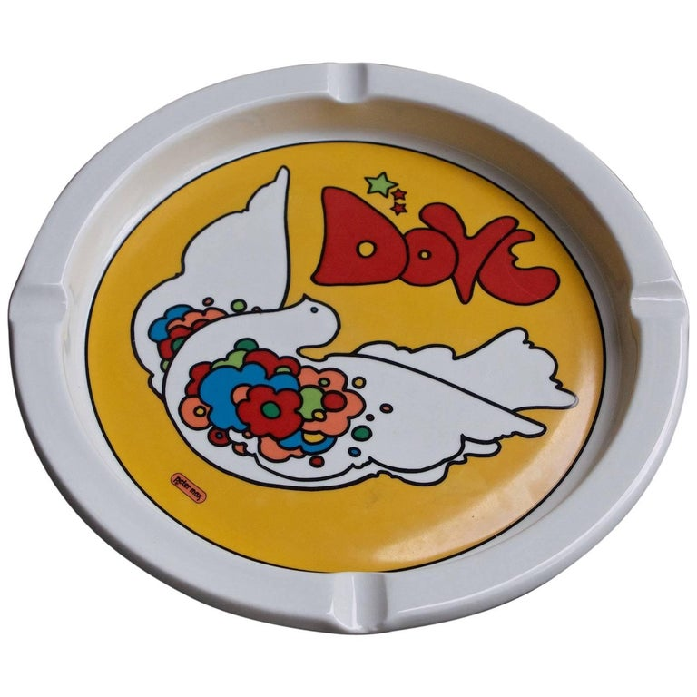 Late 1960s Bird of Peace Dove Ashtray by Peter Max Psychedelic Pop Art Graphic