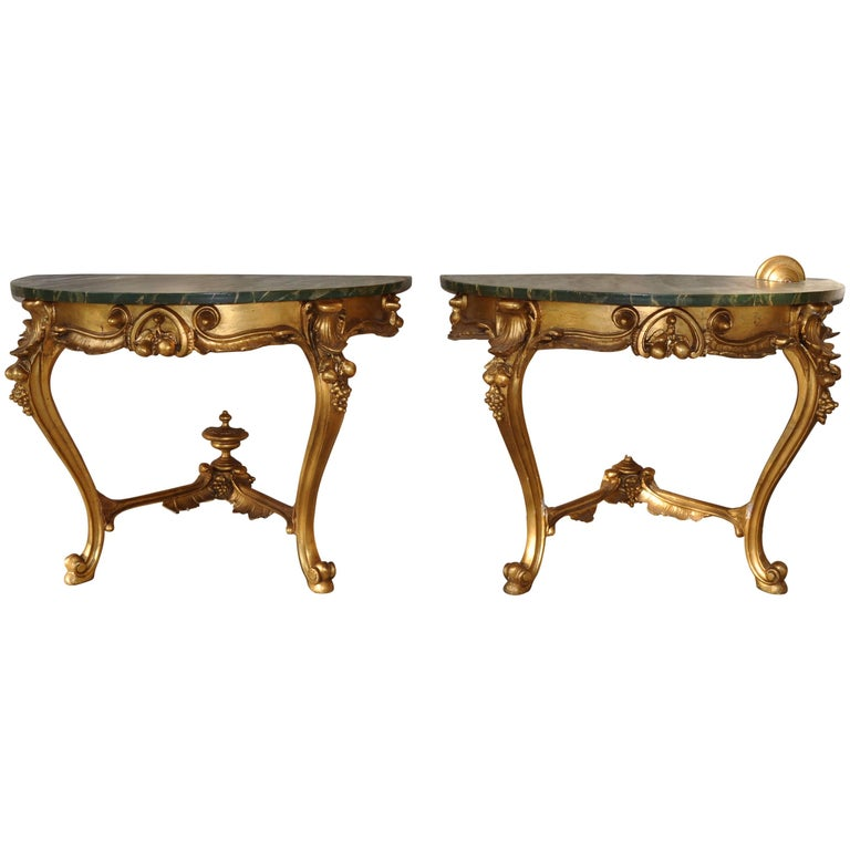 Pair of Consoles Decorated with Leaf of Gold Zecchino, 19th Century