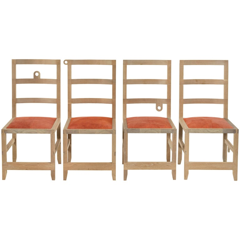 Monolith Ladderback Chair by Phaedo, White, Washed Oak For Sale