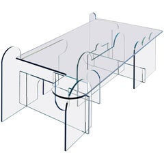 Lexan Series Coffee Table by Phaedo, Clear Lexan with Blue Oil - Painted Edge