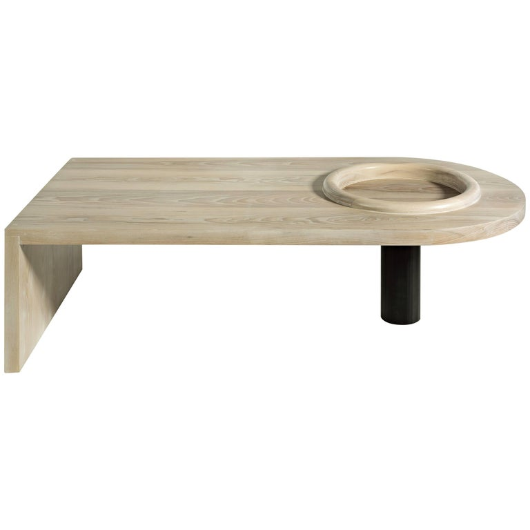Monolith Slab Coffee Table by Phaedo, White - Washed Ash with Raised Rim Bowl
