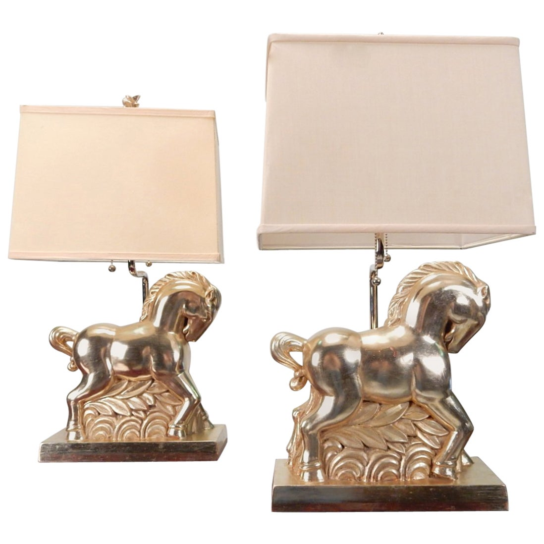 Art Deco Polychromatic Etruscan Horse Table Lamp Pair