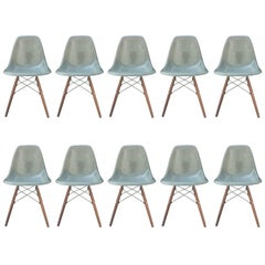 Ten Herman Miller Eames Seafoam Green Dining Chairs