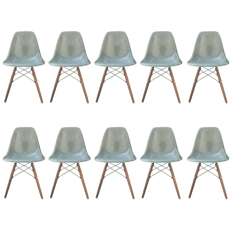Ten Herman Miller Eames Seafoam Green Dining Chairs For