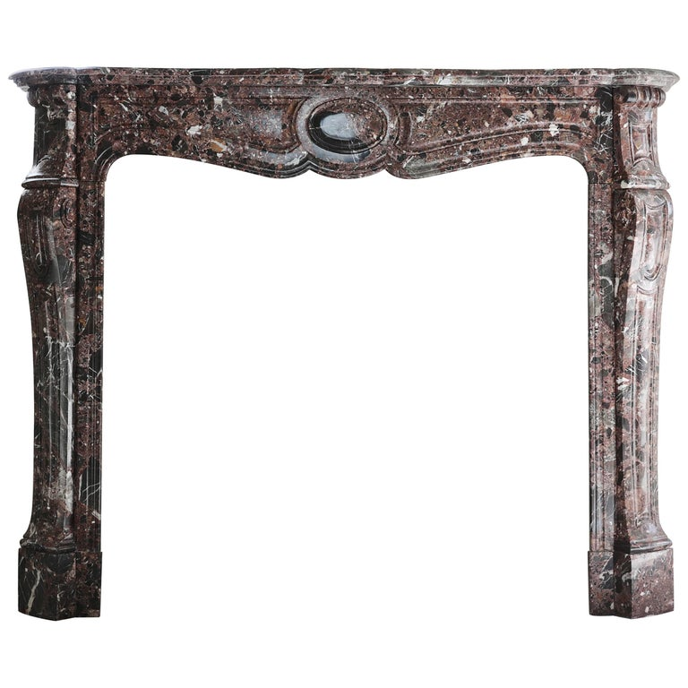 Antique Marble Fireplace, Pompadour style, 19th century For Sale