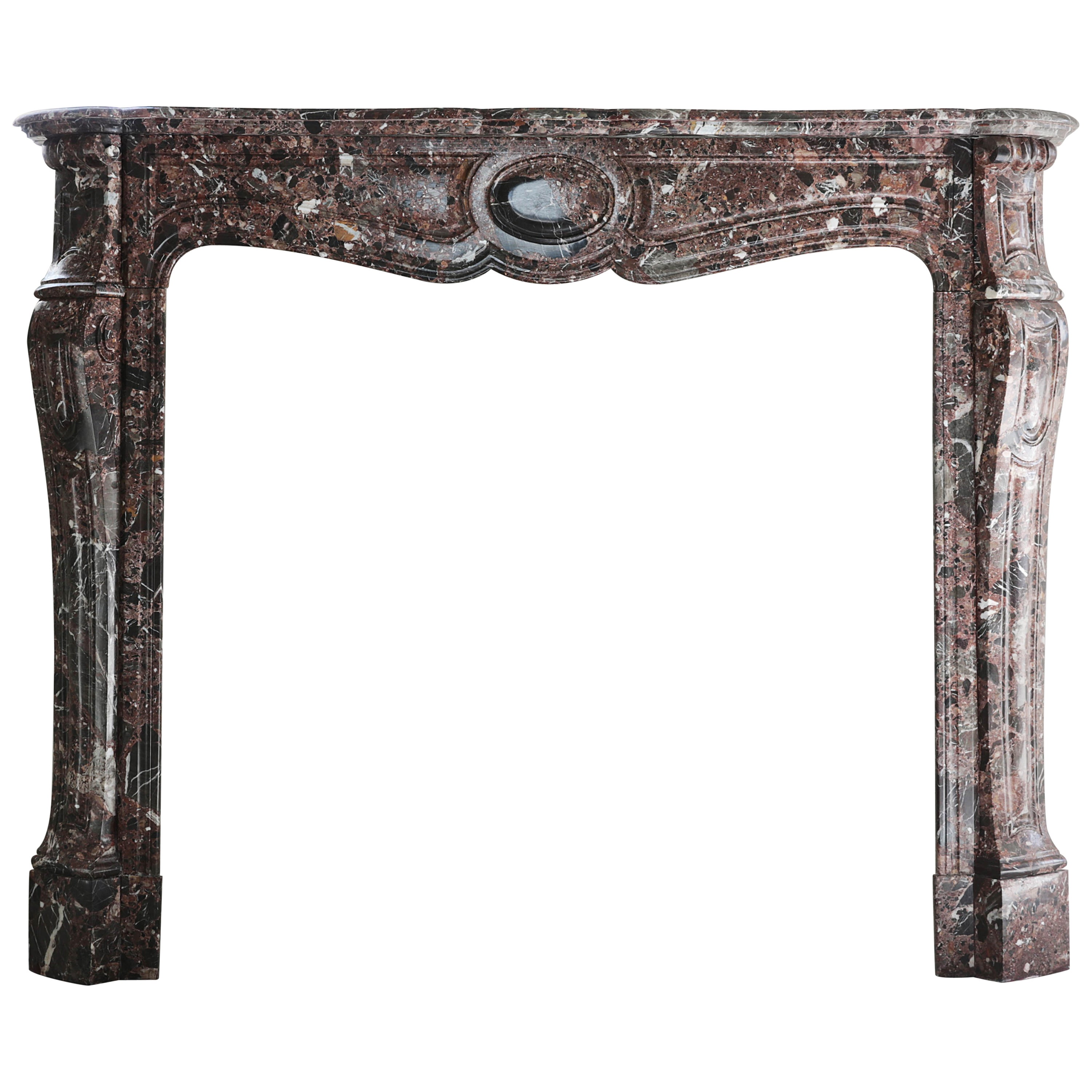 Antique Marble Fireplace, Pompadour style, 19th century