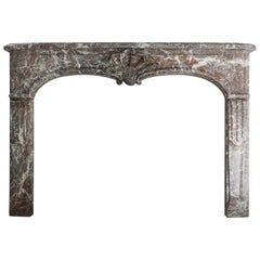 Antique Marble Fireplace, Louis XV, Rouge Royal marble