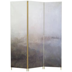 Grey Hand-Painted Brass Screen, Jan Garncarek