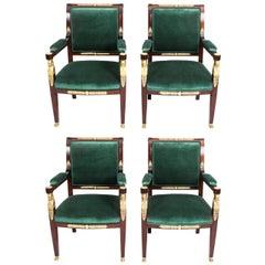 19th Century Set of Four Napoleon III Mahogany & Ormolu Armchairs