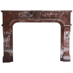 Antique Marble Fireplace, Louis XIV, marble Griotte Rouge, 19th century
