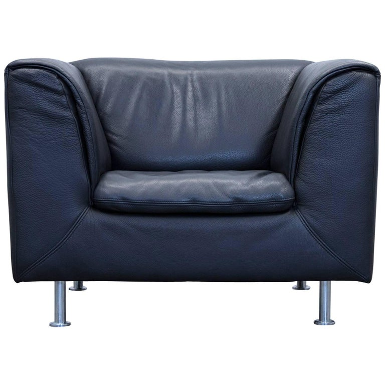 willi schillig designer armchair leather anthrazit black one seat couch for sale at 1stdibs. Black Bedroom Furniture Sets. Home Design Ideas