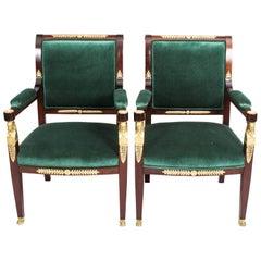 19th Century Pair of Napoleon III Mahogany and Ormolu Armchairs