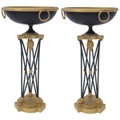 Pair of Athenians, Bronze, Antique Patina and Gilded Iron, circa 1960, France
