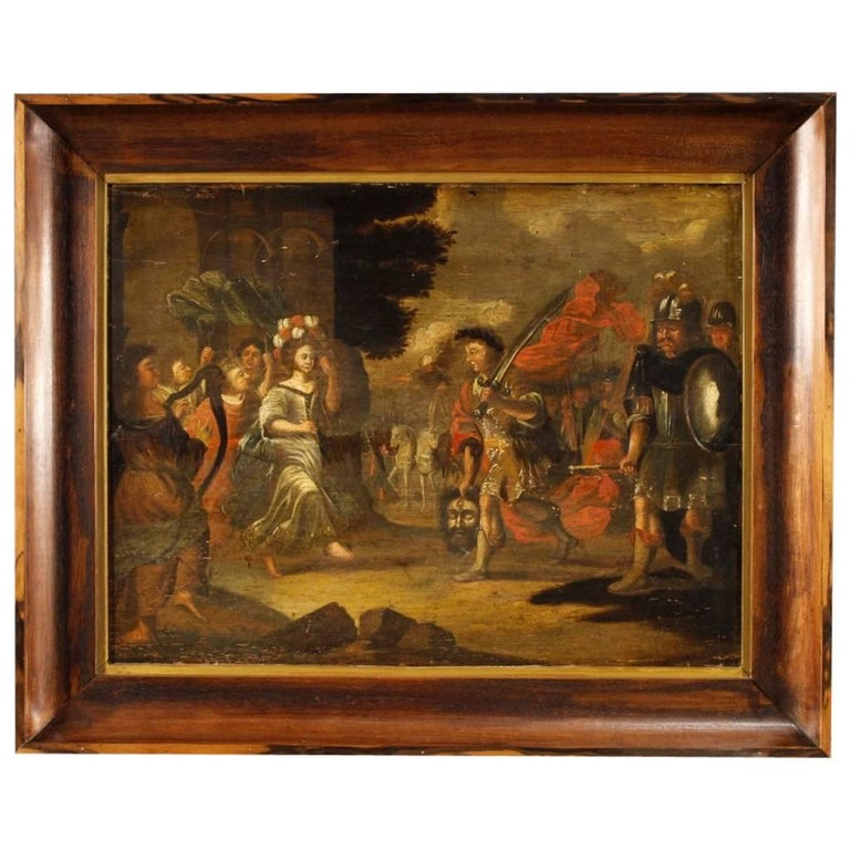 18th Century Religious Painting David's Triumph Oil on Panel