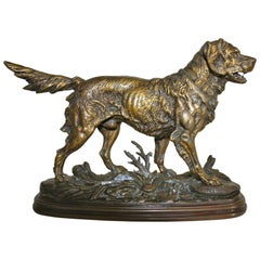 Antique Bronze Statue of Hunting Dog by Paul Edouard Delabrierre