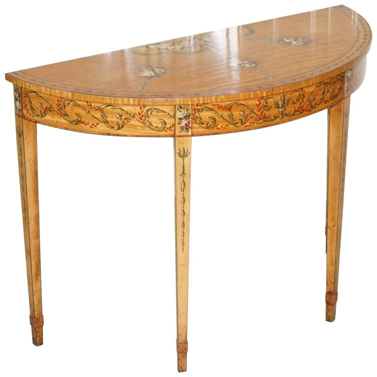 Hand-Painted Satinwood Sheraton Revival Victorian Demi Lune Console Side Table