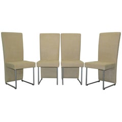 Set of Four Suspended Seat Rolf Benz Cream Suede Leather Dining Chairs