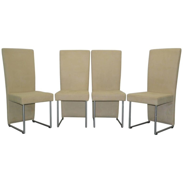 Set of four suspended seat rolf benz cream suede leather for Cream dining room chairs sale