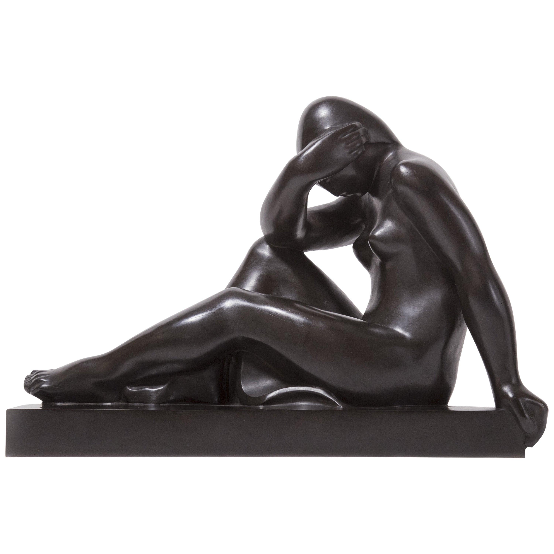 "Bronze Sculpture ""Woman Sitting Head in Her Arm"" by Joseph Csaky, circa 1930"