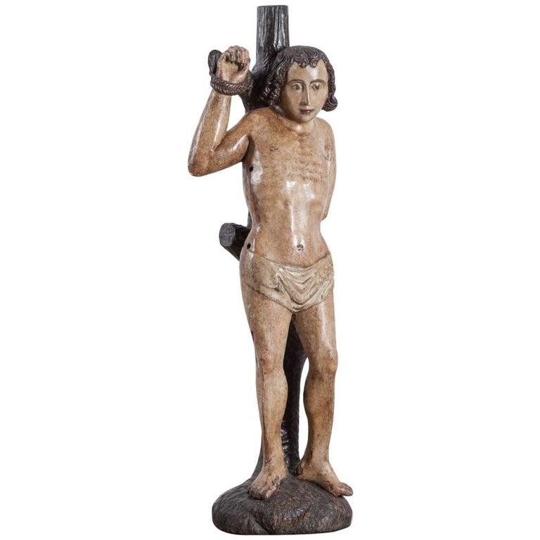 15th Century Saint Sebastian Carving