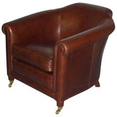 New Tusting Arnold Aged Brown Leather Luxury Premium Club Armchair