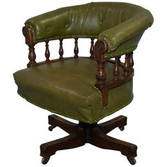 Rare & Genuine Victorian, circa 1860 Chesterfield Buttoned Captains Office Chair