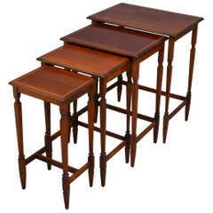 Edwardian Mahogany Nest of Tables of Low Design