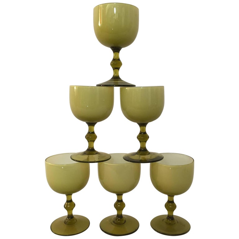 Six Carlo Moretti Cased Glass Stemware Wine Goblets For Sale