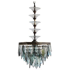 1920s Waterfall Chandelier with Bespoke Tiered Glass Stem
