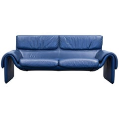 De Sede DS 2011 Designer Sofa Leather Blue Two-Seat Couch Modern