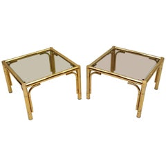 Pair of 1970s Vintage Brass Side Tables