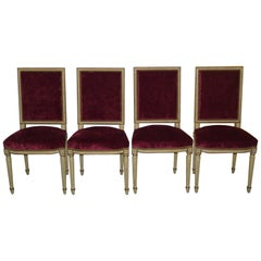 Louis XV Laval France Jacob Set of Four Crushed Velvet Dining Chairs