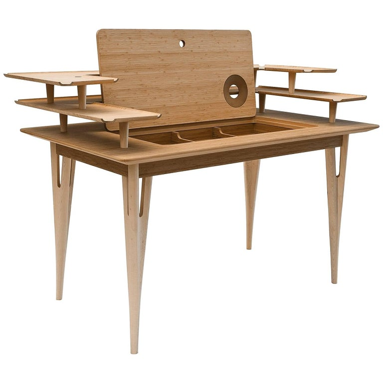 """Victor"" Maple and Bamboo Writing Desk Designed by Mario Airo for Adele-C For Sale"