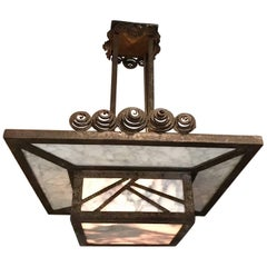 Antique Wrought Iron and Marble Art Deco Pendant Light
