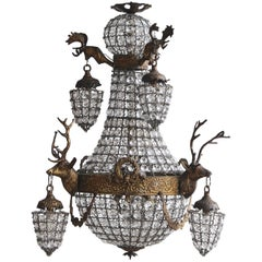 1930s French Brass Empire Balloon Chandelier with Stags Head Sconces